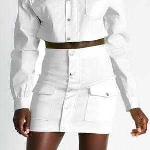 NWT Meshki Cargo Popper High Waisted Mini Skirt